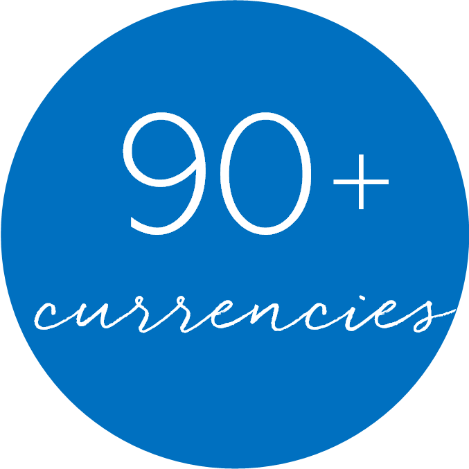 90+ Currencies